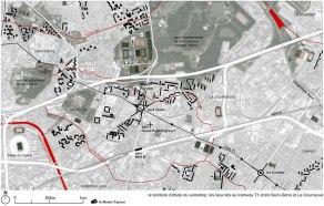 Territoire de la Courneuve concerné par le Tram 1 Source : Atelier du grand Paris