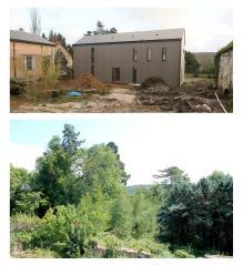 Photos existantes. La maison passive est en cours de construction. Vue sur le paysage alentour depuis le 1er étage