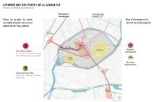 Situation : au coeur de la ville, la rue intègre les enjeux de nouvelles mobilités douces et proposera des usages urbains polyvalents